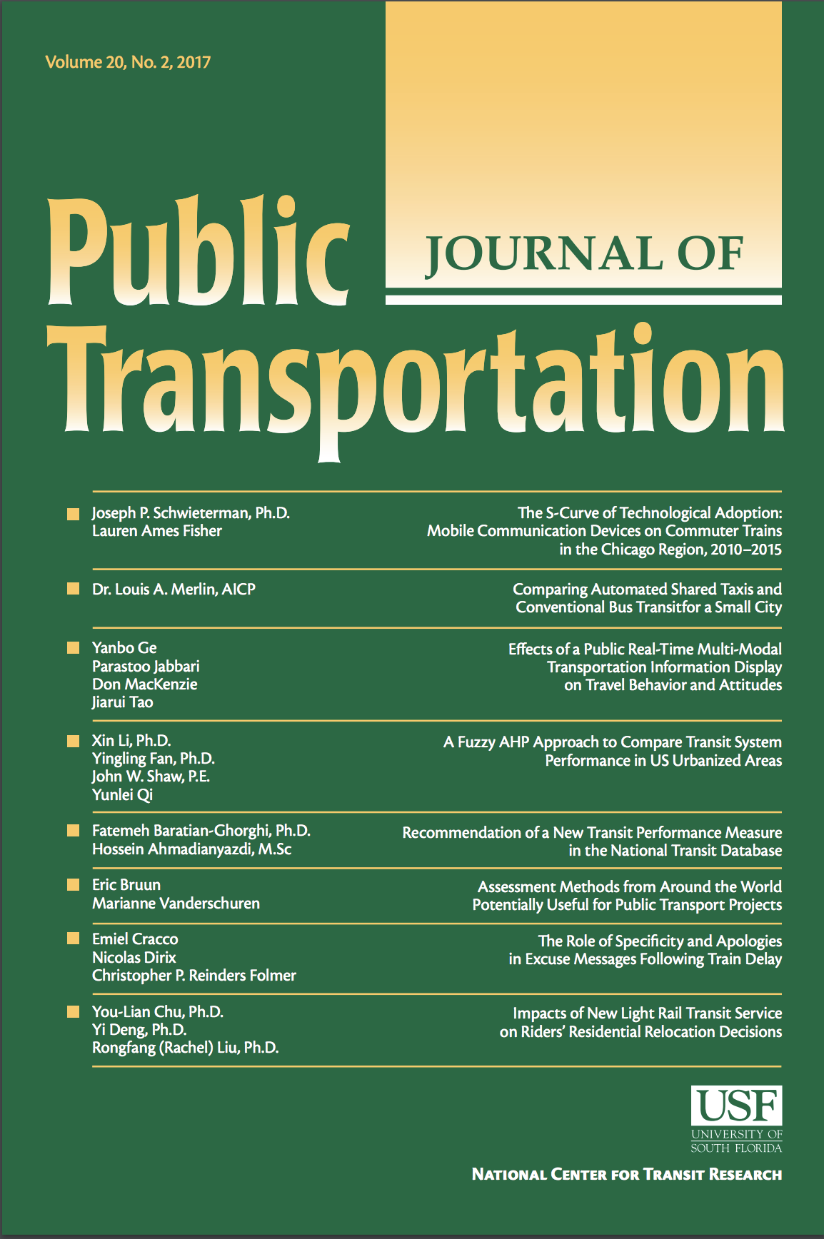 Cover of the Journal of Public Transportation