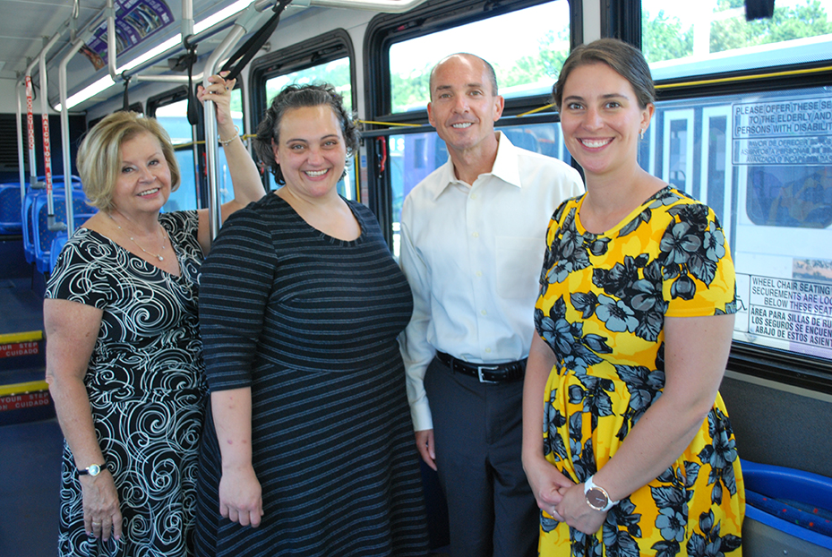 L-R: Roberta Yegidis, CUTR; Kristi McLaughlin, ESPAC Consultant; David Green, GRTC Chief Executive Officer; and Kelsey Calder, GRTC Travel Training Instructor